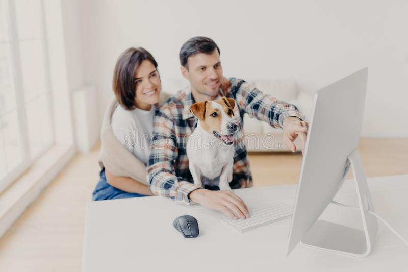 Photo of family couple make shopping on favourite website, enjoy time together, funny dog focused in monitor of computer, sits in royalty free stock photography