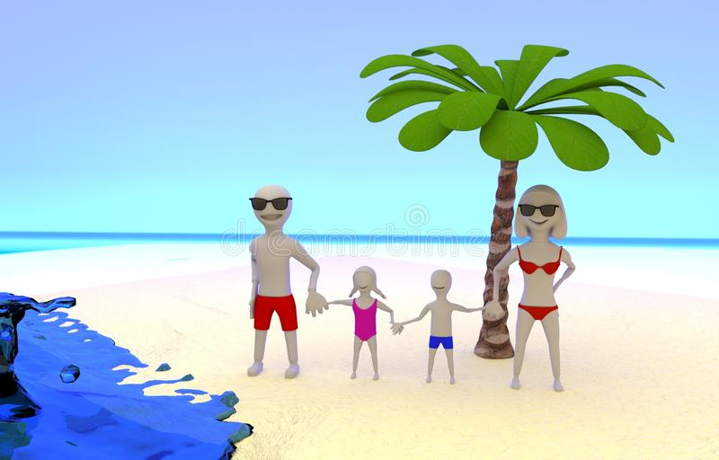 Photo Of Family On Tropical Vacation At The Seaside Stock Illustration