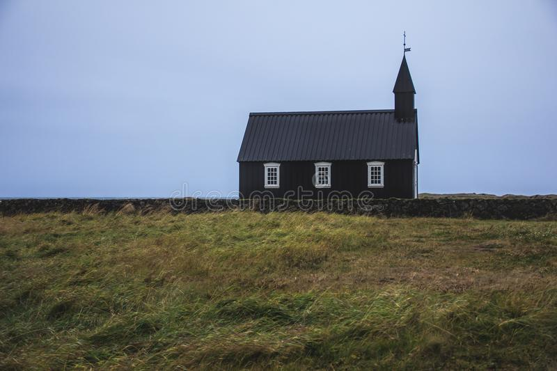 Icelandic Budir black church. A photo of a famous black church called Budir taken at the Snaefellsnes peninsula in Iceland stock photos