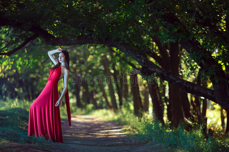 Photo of fashion woman in red dress in fairy forest. Beauty springtime stock image