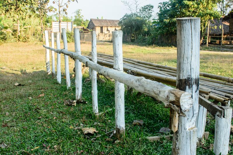 Photo of fence that is made with timber royalty free stock photos