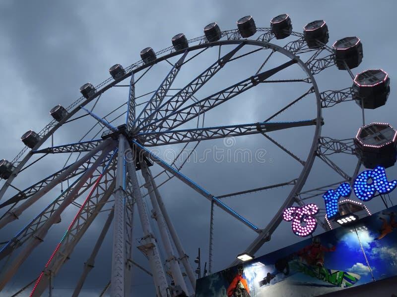 Amusement Park Ride Ferris wheel in Barcelona Spain. Photo of ferris wheel amusement park ride in barcelona spain on 9/24/18 stock photography