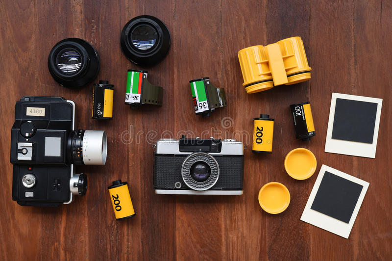 Photo film with photo frames and camera stock photography