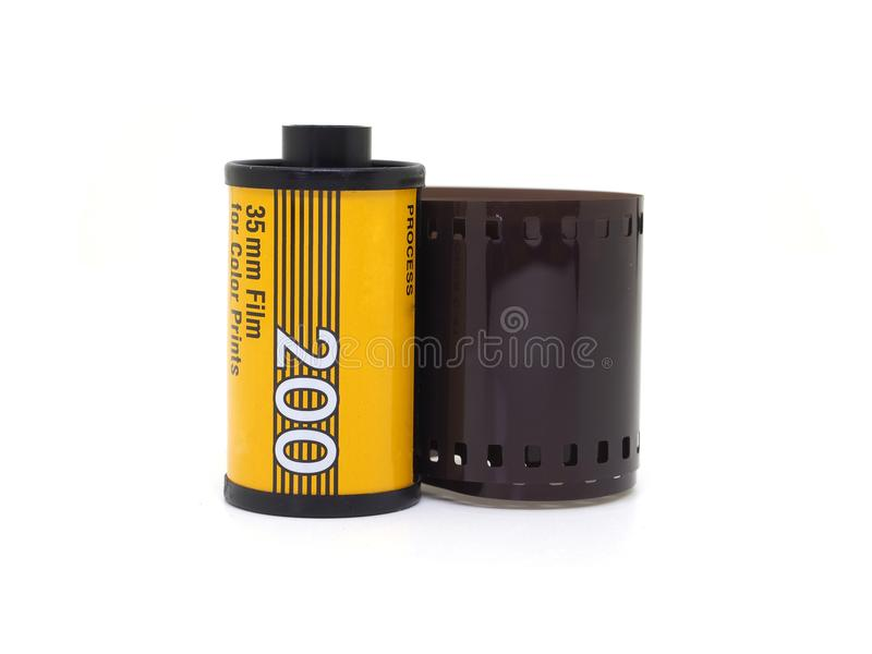 Photo film roll isolate on white. Photo film roll 35mm 200 iso isolate on white royalty free stock image