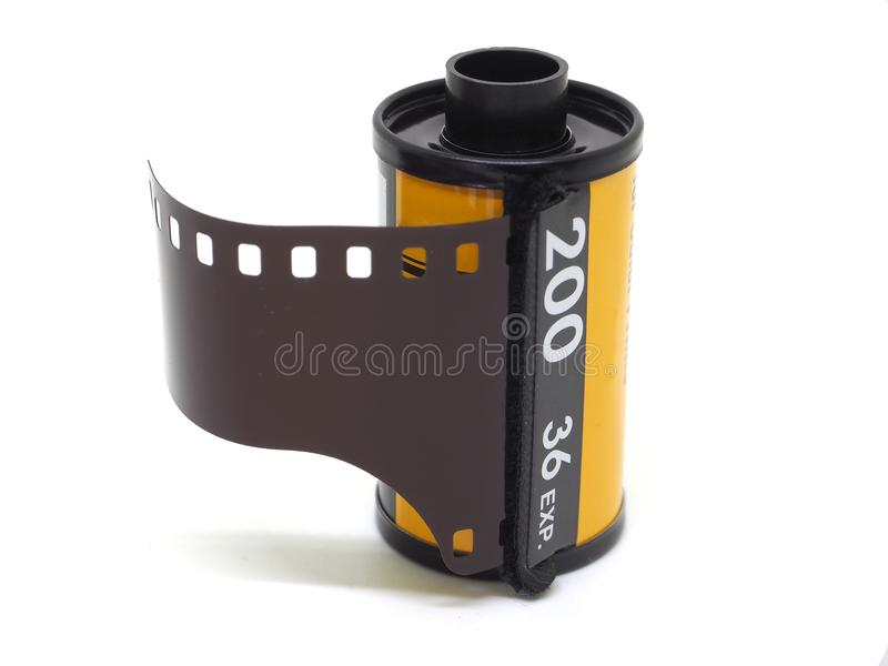 Photo film roll isolate on white. Photo film roll 35mm 200 iso isolate on white stock image