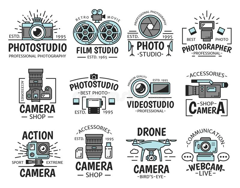 Camera and movie projector. Photo and film studio. Photo and film studio icons with digital and video camera, lens, flash and movie projector, shutter and cinema vector illustration