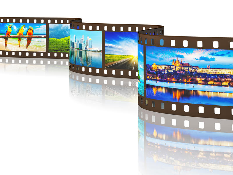 Photo film of travel images with reflection stock illustration