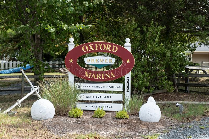 Oxford Marina signal, Maryland. USA. Photo of fisherman boat at Oxford Harbour on Choptank River in Maryland, United States of America stock images