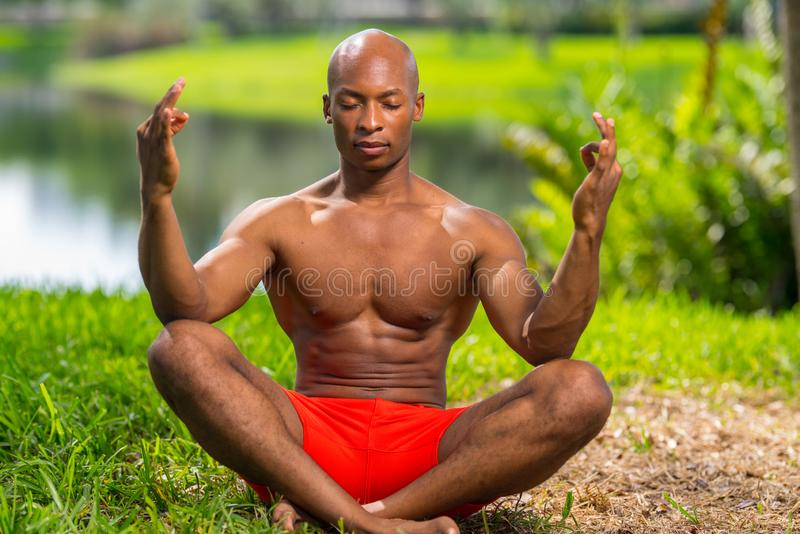 Photo of a fitness model in a yoga pose. Image lit with flash in a park setting royalty free stock photos