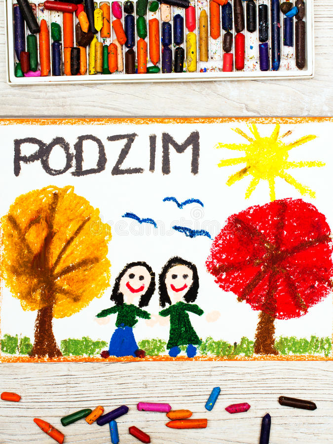 Drawing: Czech word Autumn, happy girls and trees with orange and red leaves stock images