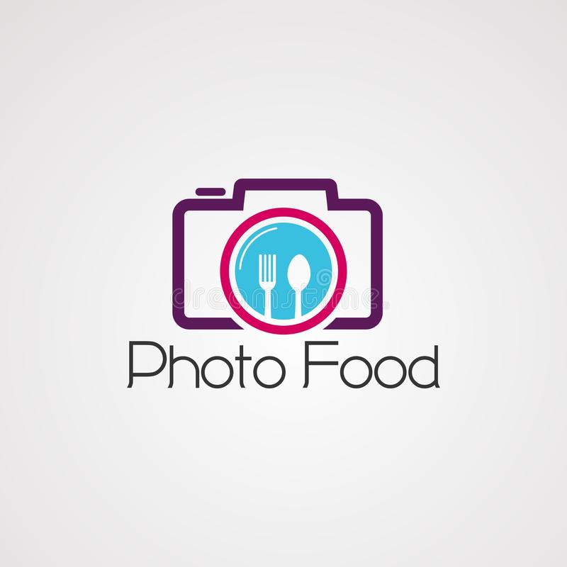 Photo food on camera logo vector, icon, element, and template for company stock illustration