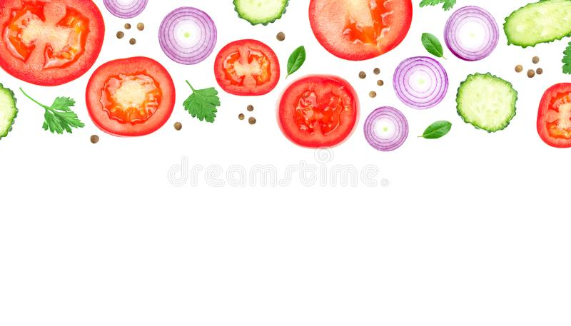 Photo for food leaflet template, vegetable vegans flyers. Fresh organic healthy layout, vegetables cover. Organic ads. Sliced. Tomatoes, purple onion, cucumbers royalty free stock images