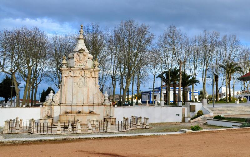 The fountain of spouts. Photo of the fountain of spouts during the winter - Borba, Alentejo, Portugal - February 2017 stock images