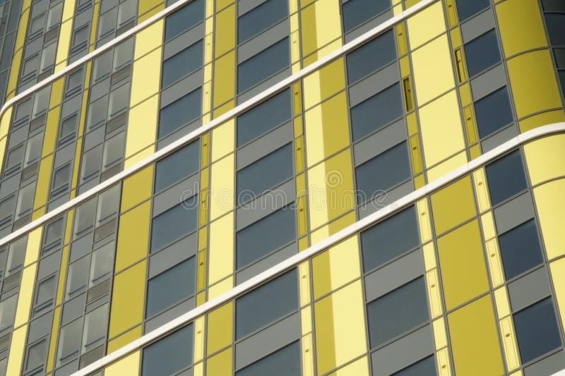 Photo of a fragment of the building. Ekaterinburg, Russia, Khokhryakova Street 63, May 2019, residential complex `Trinity` royalty free stock images