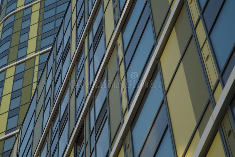 Photo of a fragment of the building. Ekaterinburg, Russia, Khokhryakova Street 63, May 2019, residential complex `Trinity` stock photography