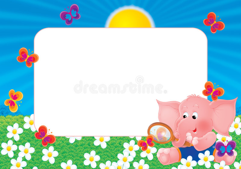 Download Photo frame 015 stock illustration. Image of elephant, field - 785707