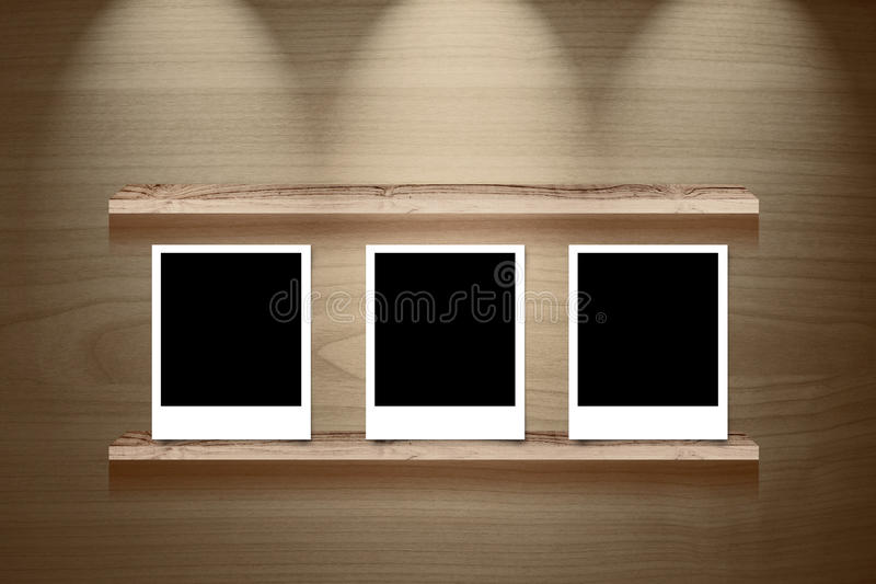 Download Photo Frame On Abstract Blue Template Background With Bokeh Ligh Stock Photo - Image: 33980030