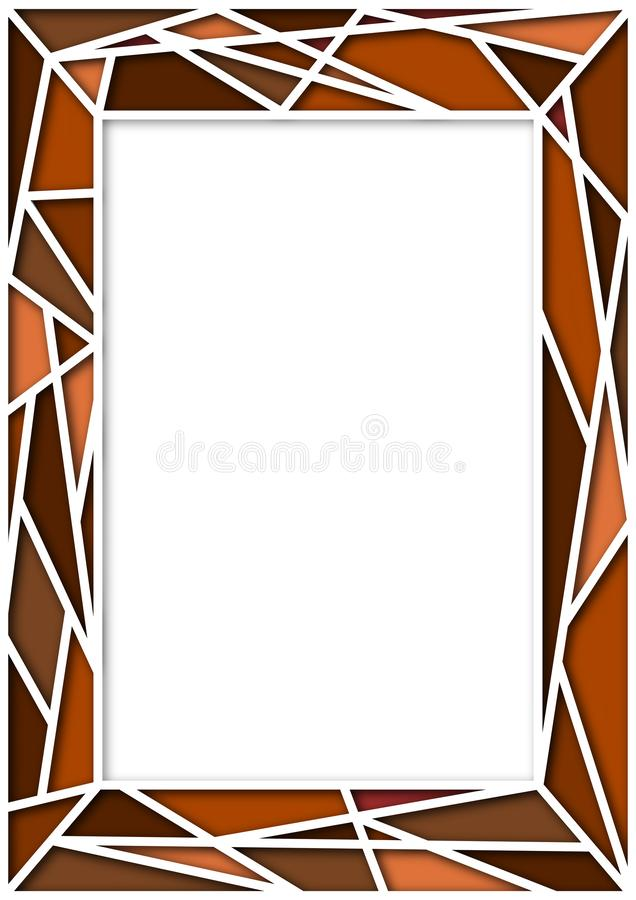 Photo Frame Abstract Random Brown Color. Photo frame abstract background of white lines partition with shadow on random color vector illustration