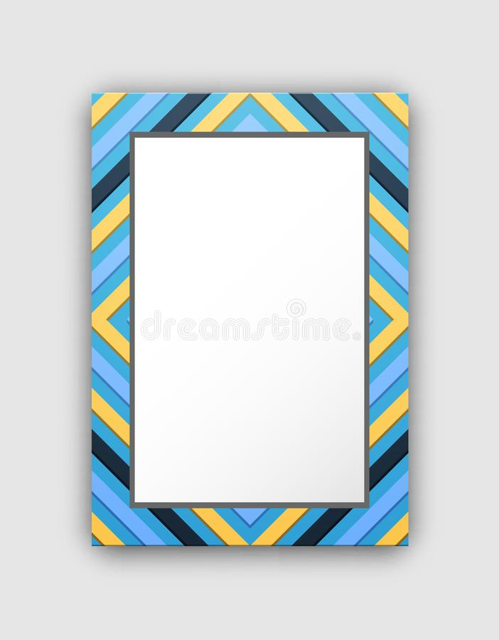 Photo Frame with Blue Border and Abstract Figures stock illustration