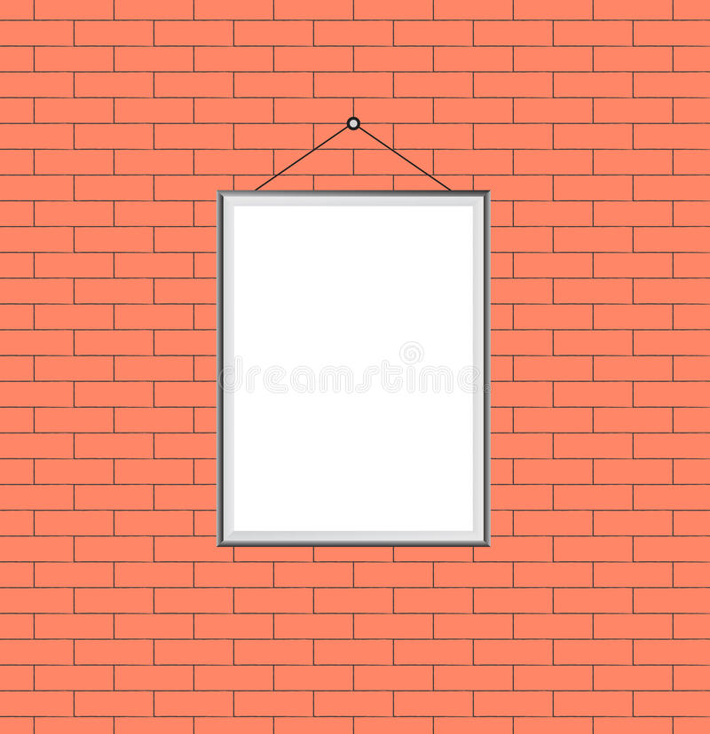 Photo frame on the brick wall stock photo