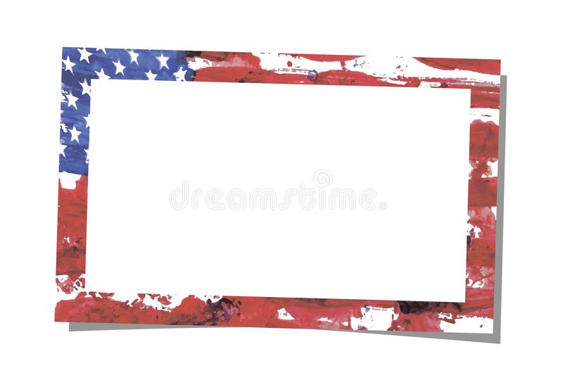Photo frame with brush watercolor painting of USA flag stock illustration