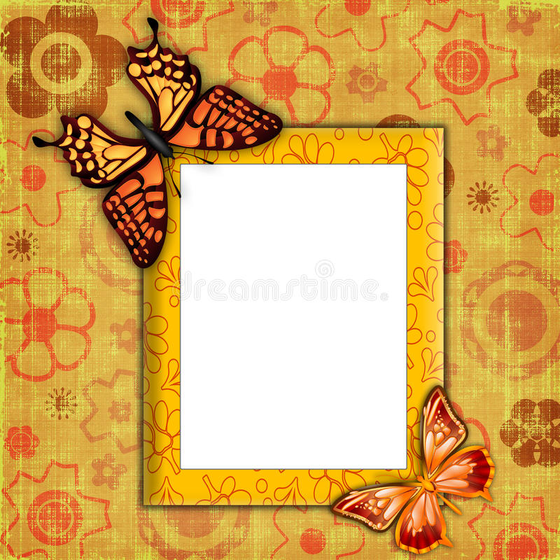 Photo frame with butterflies stock photo