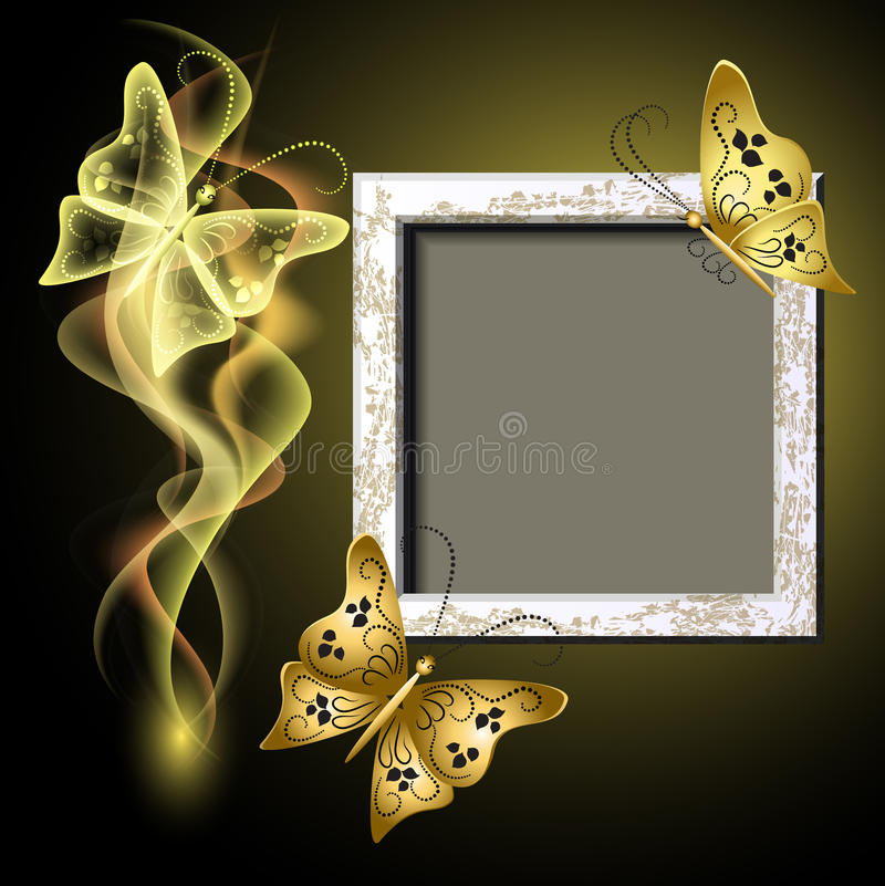 Photo frame, butterflies and smoke stock illustration