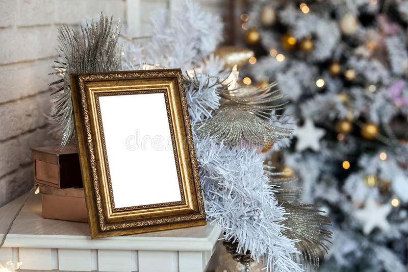 Photo frame in christmas decorated background royalty free stock image