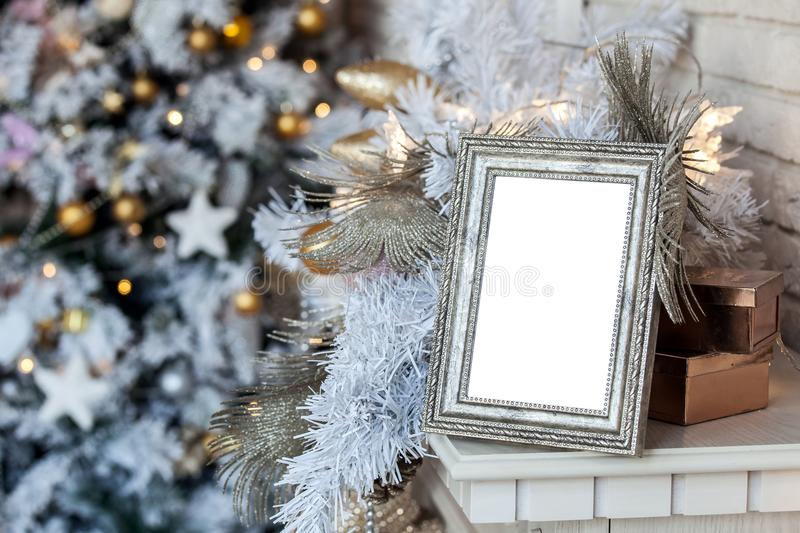 Photo frame in christmas decorated background stock photos