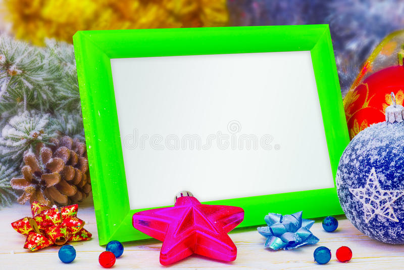 Photo frame for Christmas. Frame Toy for Christmas decoration, family holidays royalty free stock image
