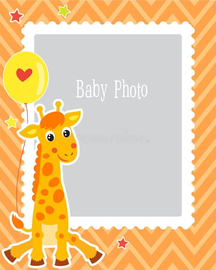 Photo Frame Design For Kid With Cute Giraffe. Decorative Template For Baby Vector Illustration. Birthday Children Photo Framework. royalty free illustration