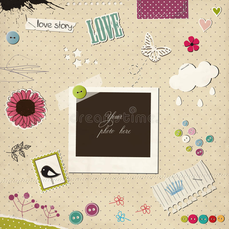 Photo frame with elements vector illustration