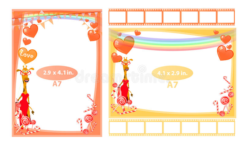 Photo frame with giraffe girl and hearts a7 royalty free illustration