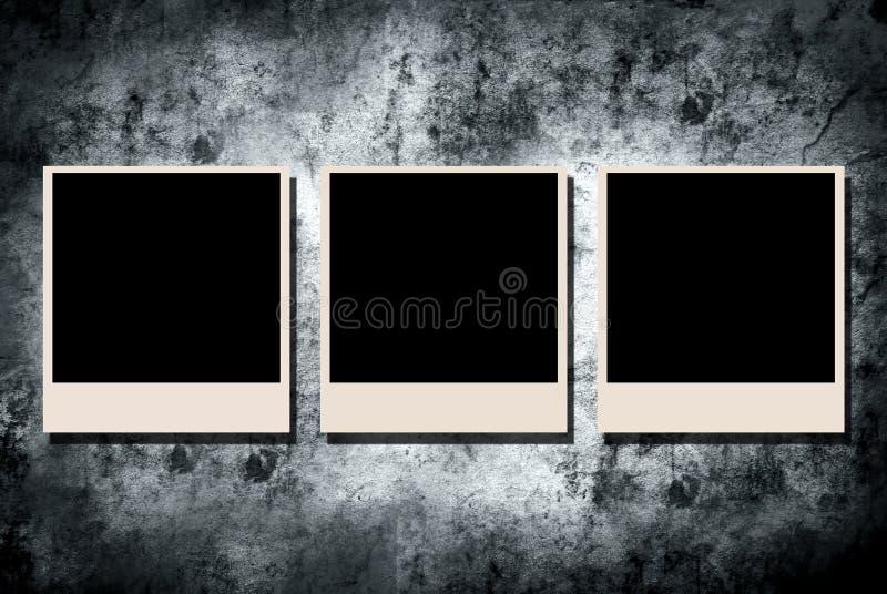 Photo frame on grunge wall stock illustration