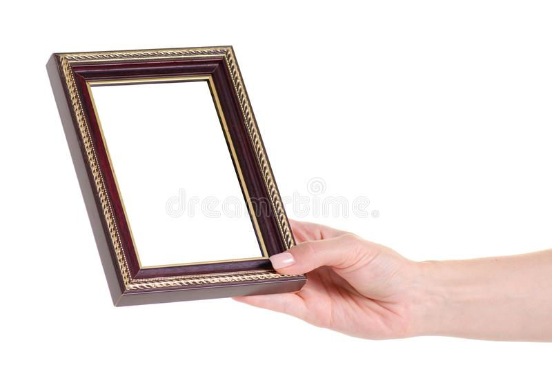 Photo frame in hand royalty free stock photo