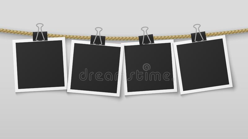 Photo frame hanging on rope. Blank photo paper frames, retro picture exhibition and clothespins. Vector album royalty free illustration