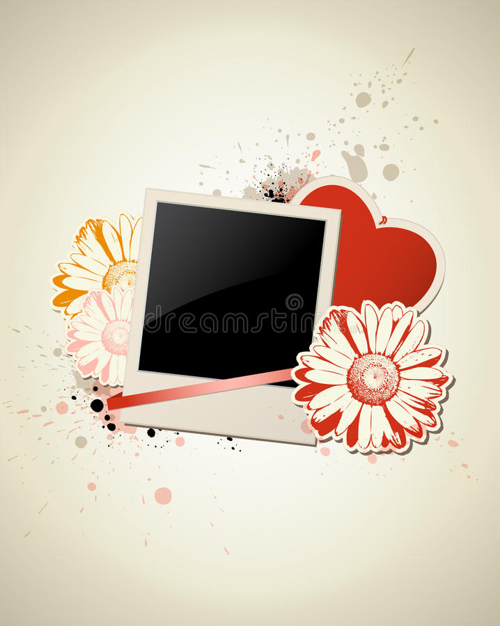 Download Photo Frame With Heart And Flower Stock Vector - Illustration of frame, spray: 23307628