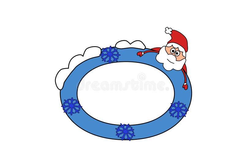 Photo frame, invitation design background. Greeting card template, color illustration. Santa and winter. EPS file available. Photo frame, invitation design royalty free illustration