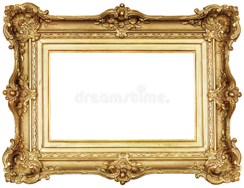 Photo frame isolated. Empty golden frame isolated. Clipping path included