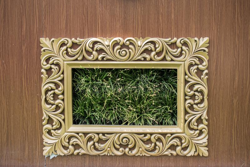 Photo frame made of wooden material royalty free stock photography