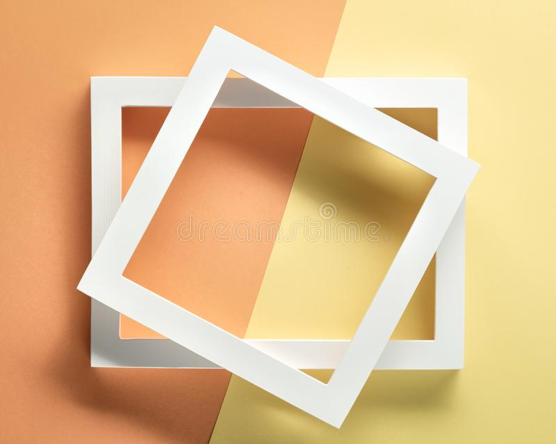 Photo frame on pastel paper royalty free stock images