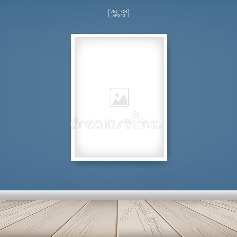 Photo frame or picture frame on blue wall background with wooden floor. royalty free illustration