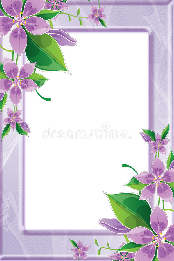 Download Photo Frame With Purple Flowers Stock Illustration - Image: 15720822