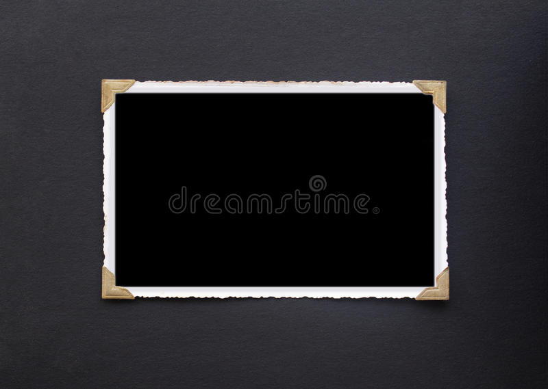 Photo frame - real old photo with black blank space for copy pho stock photos