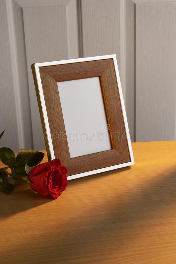 Photo frame with red rose royalty free stock photography