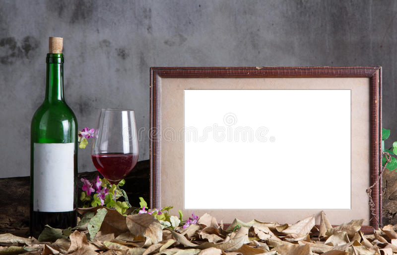 Photo frame with red wine royalty free stock images