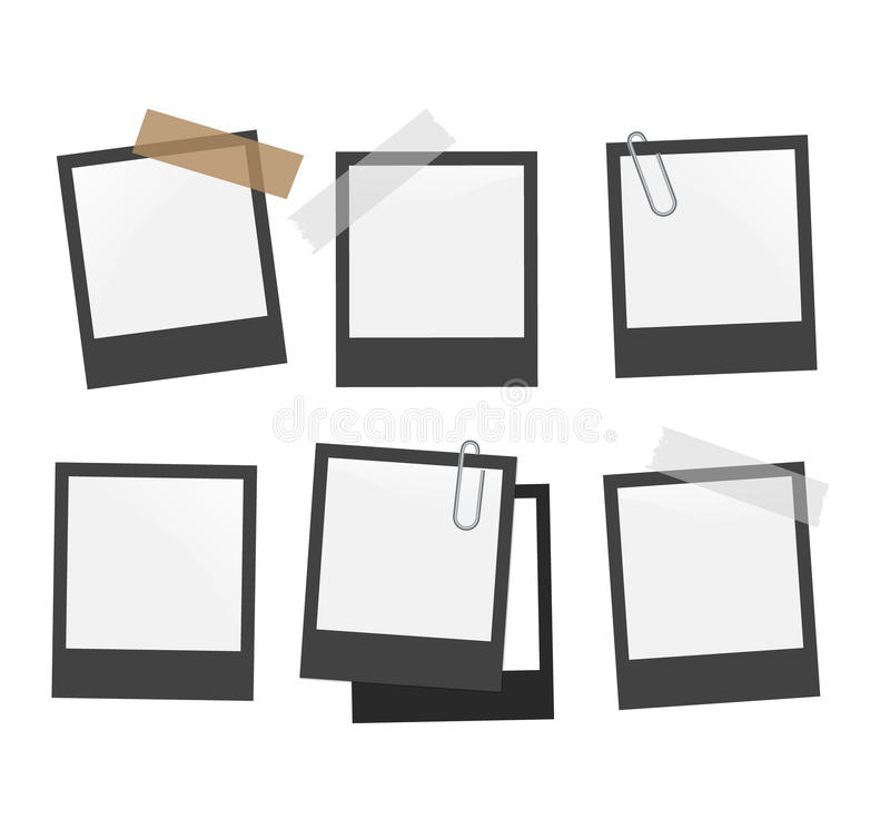 Photo Frame Set Template On Transparent Grid. Isolated Instant Photo ...