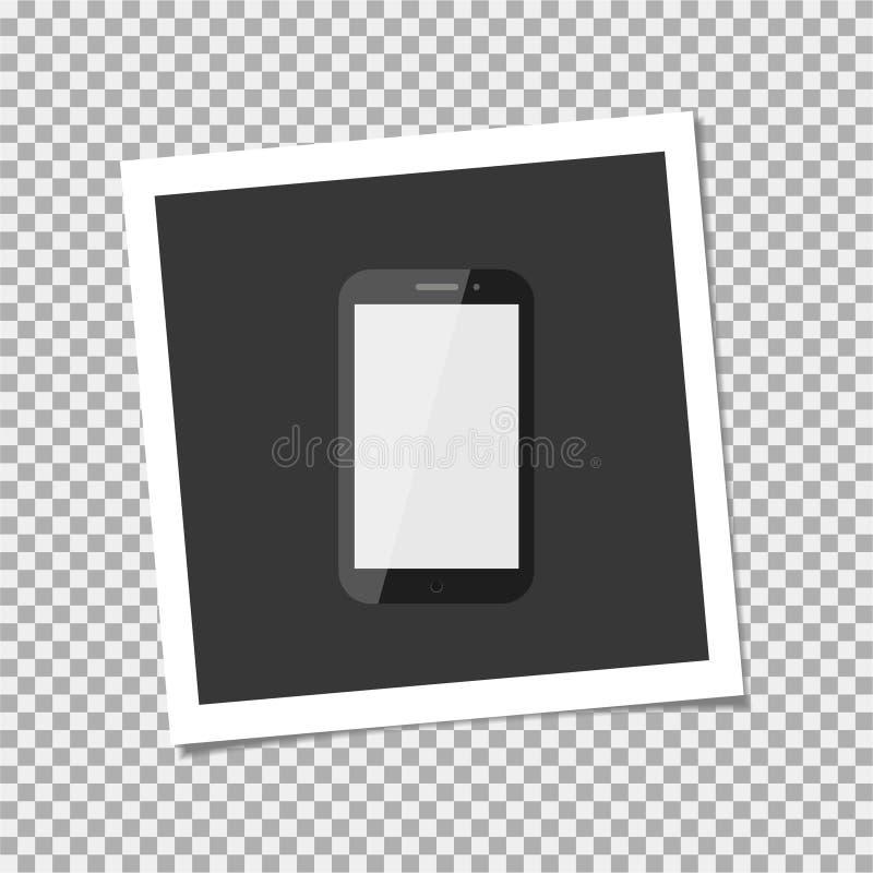 Polaroid Photo frame with smartphone. Vector illustration royalty free illustration