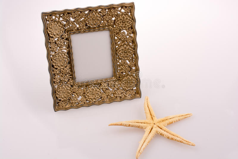 Photo frame and a starfish placed on white background stock images