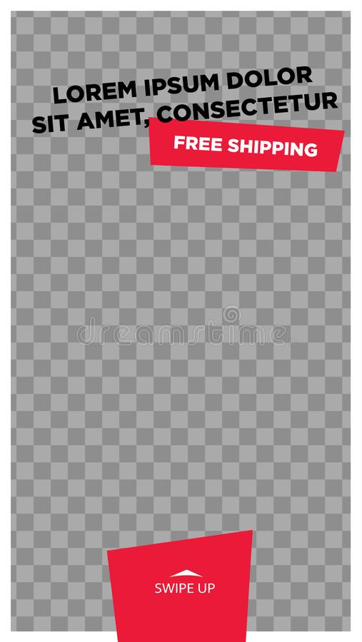 Photo frame.Stories template.  Streaming. Mockup for photo isolated on transparent background stock illustration